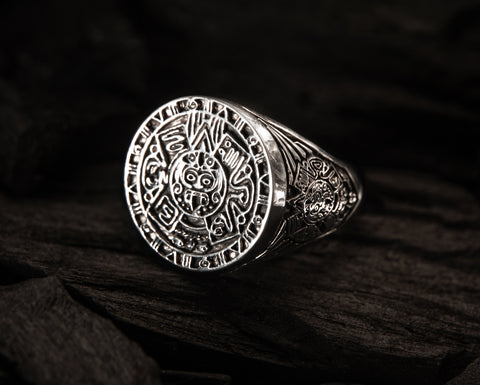 Aztec Calendar Mayan Sun Ring Mexico Men's Ring 925 Sterling Silver Size 6-15