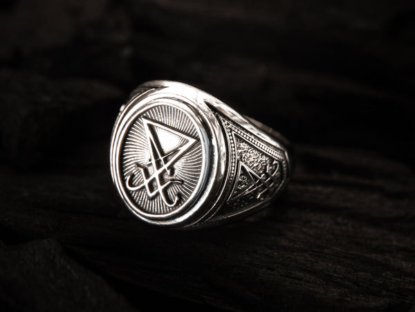 Sigil of Lucifer Ring, Devil Seal of Satan Ring 925 Sterling Silver Size 6-15