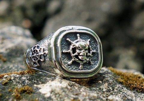 PIRATES BIKER DEATH'S HEAD SWORDS RING, SKULL & CROSSBONES RING 925 Sterling Silver Size 6-15