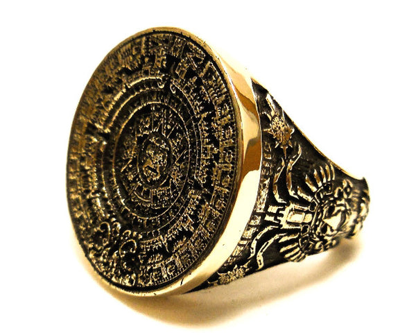 Mayan Ring, Brass Ring, Patterned Ring,  Style Hand made, Mayan Calender Ring,  Man Ring, Brass All Size Style Heavy Biker  (BR-13)