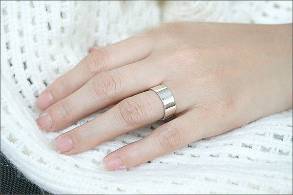 Custom Fingerprint Ring Sterling Silver Engraving Wedding Band