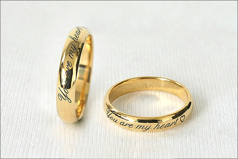 Personalized Ring - Ring 4 mm wide - 925 Sterling Silver with 24k Gold Plate 3-5 micron Stamped Ring, Promise Ring, Engraved ring (RG-03)