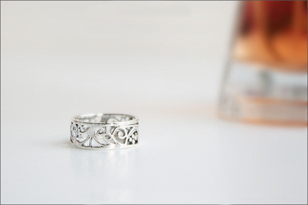 925 Sterling Silver Ring - Princess Crown Ring/ Silver Floral Ring/  Flower Ring/ Pattern Ring  Rocker Woman Jewelry - Silver ring (SR-026)