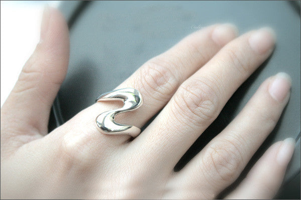925 Sterling Silver Curvy ring /Adjustible Wrap Around Ring  Style Gift Idea Rocker Gothic Woman Jewelry (SR-40)