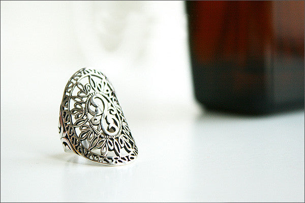 925 Sterling Silver Ring - Princess Crown Ring/ Silver Floral Ring/ Flower Ring/ Pattern Ring Gift Idea Woman Jewelry -  Silver ring (SR-42)