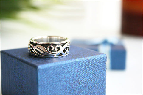 Sterling Silver Spinner Ring - Design Ring - Engraved ring Inside Ring 7 mm wide. Personalized Ring customized - personalized  (R057)