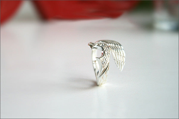 925 Sterling Silver Ring - Angel Wing ring / Wing ring Style Gift Idea Rocker Gothic Woman Jewelry - Silver ring (SR-75)