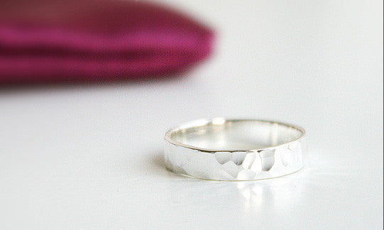 Hammered Ring - Free Engraved Inside Ring  - 4mm. 925 Sterling Silver Ring -  Engraved Ring Band - Personalized Ring  -  Silver ring (SR-07)