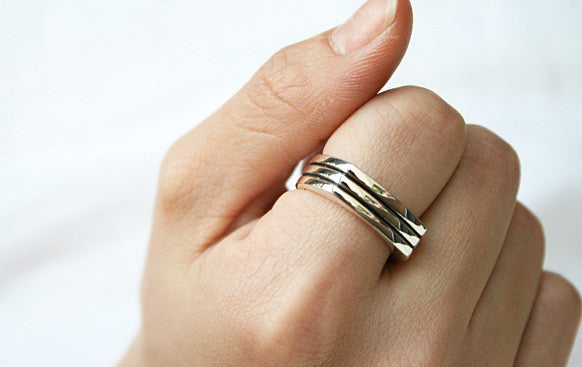 925 Sterling Silver Band Ring Style Gift Idea Rocker Gothic Woman Jewelry - Silver ring (SR-06)