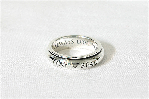 Ring 5.5 mm wide. Personalized Ring - Spinner Ring, Stamped Ring, Spinning Ring, Promise Ring, Engraved ring (RO-02)