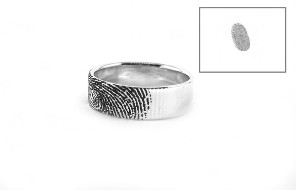Personalized Fingerprint Ring, Promise Ring, Engraved ring, Fingerprint Ring  6mm,  Personalized Ring, Custom Stamped Ring, Name Ring