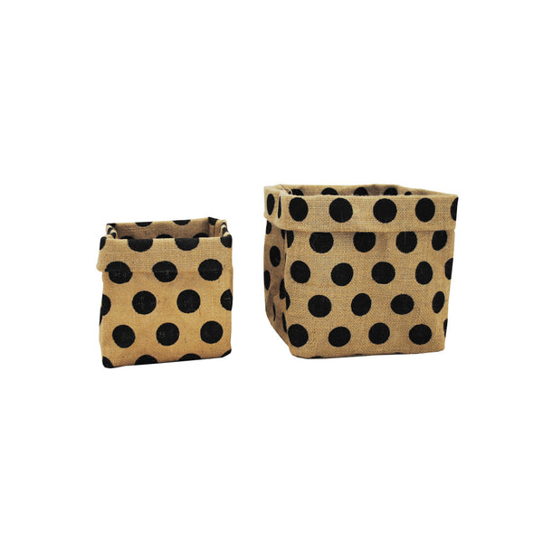 Hessian: Square Bag Black Polka Dots