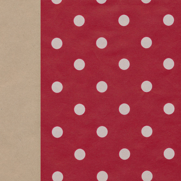 Wrapping Paper: Red and Kraft Spots