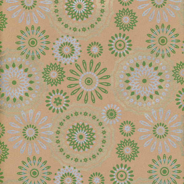 Flowerburst Wrapping Paper Green 70cm x 10m