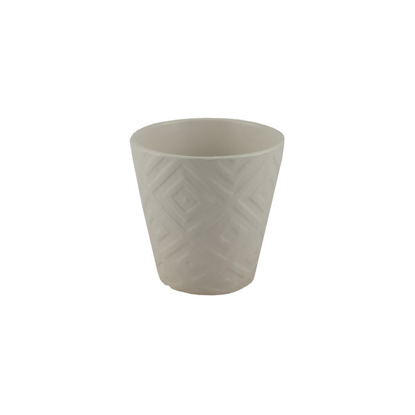 Ceramic: Art Deco Patterned Pot in Ivory