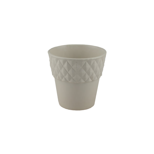 Ceramic: Diamond Edge Pot in Ivory