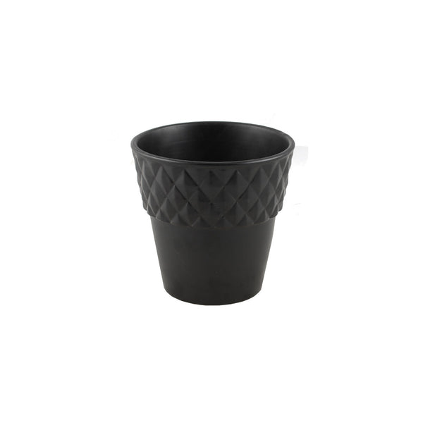 Ceramic: Diamond Edge Pot in Black