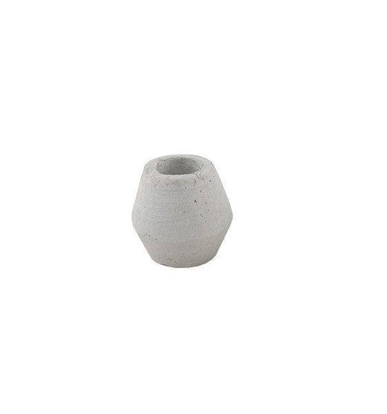 Concrete Look Candle Holder: Mini Geo Oval