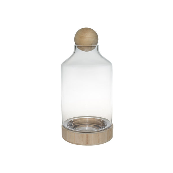 Terrarium: Wooden Base with Glass Dome Tall