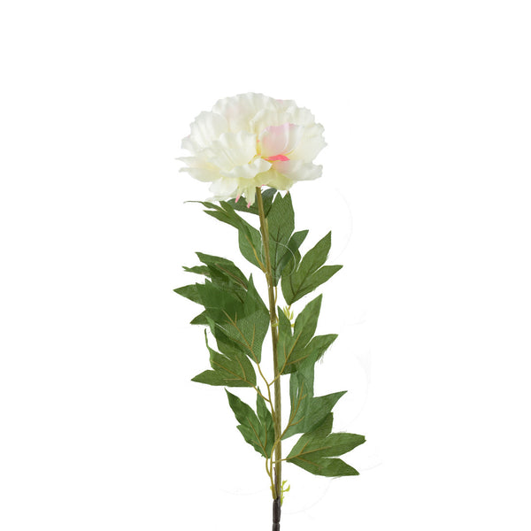 Artificial Flowers: Peonies Full Bloom- White with Light Pink