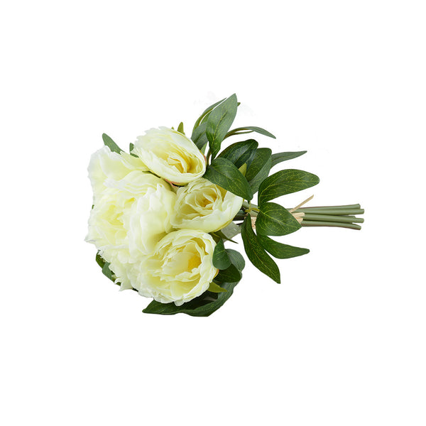Artificial Flowers: Peony Posy White