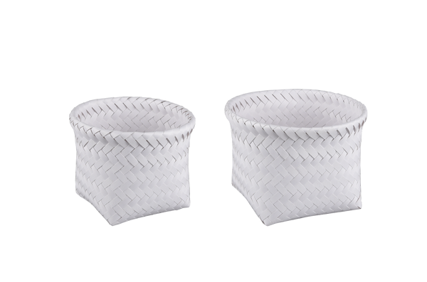Herringbone Square Baskets White