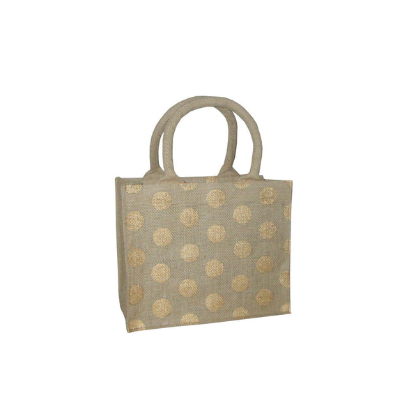 Hessian Tote Bag: Gold Polka Dot