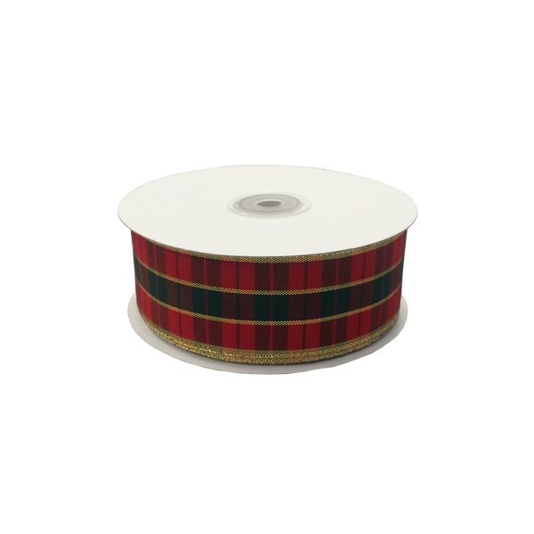 Wired Edge Tartan Ribbon 38mm x 30m