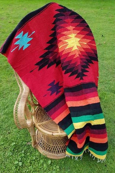Aztec Design Heavyweight Mexican Blanket