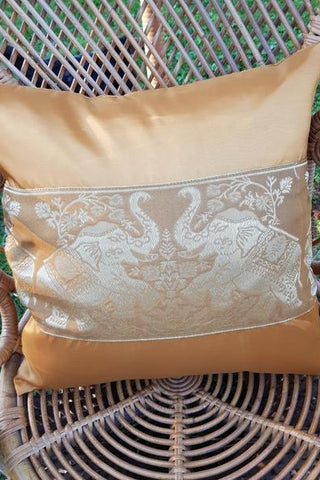 Double Elephant Silk Throw Pillow