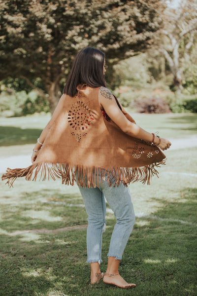 Sleeveless Cutout Fringe Vest