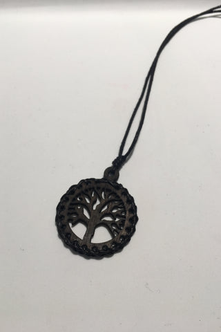 Leather & Wood Tree of Life Necklace