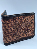 Handmade Leather Bi-Fold Pattern Wallets