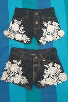 Girls Denim Lace Shorts