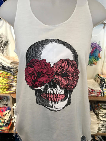 Top - Graphic Singlet - Candy Skull