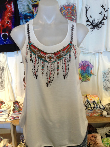 Top - Graphic Singlet - Feather Necklace