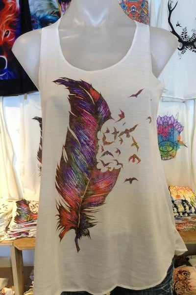 Graphic Singlet - Fly Away Rainbow Feathers