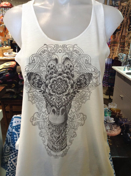Top - Graphic Singlet - Mandala Giraffe