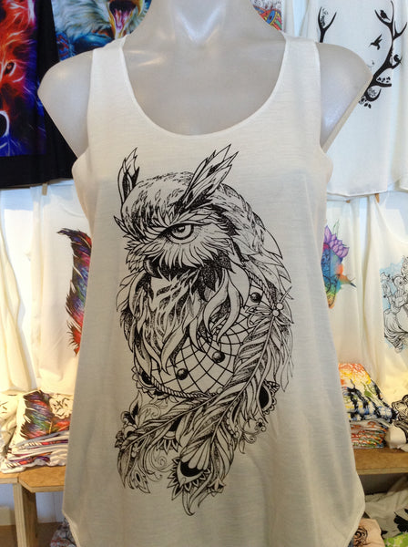Top - Graphic Singlet - Owl Gaze