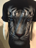 Tops - TShirt White Tiger Face