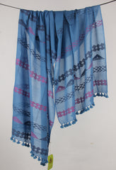 Pashma Blue Handwoven Bengal Cotton Scarf with Tassels