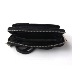 Pashma Black Finest Metallic Italian Leather wallet with mobile holder