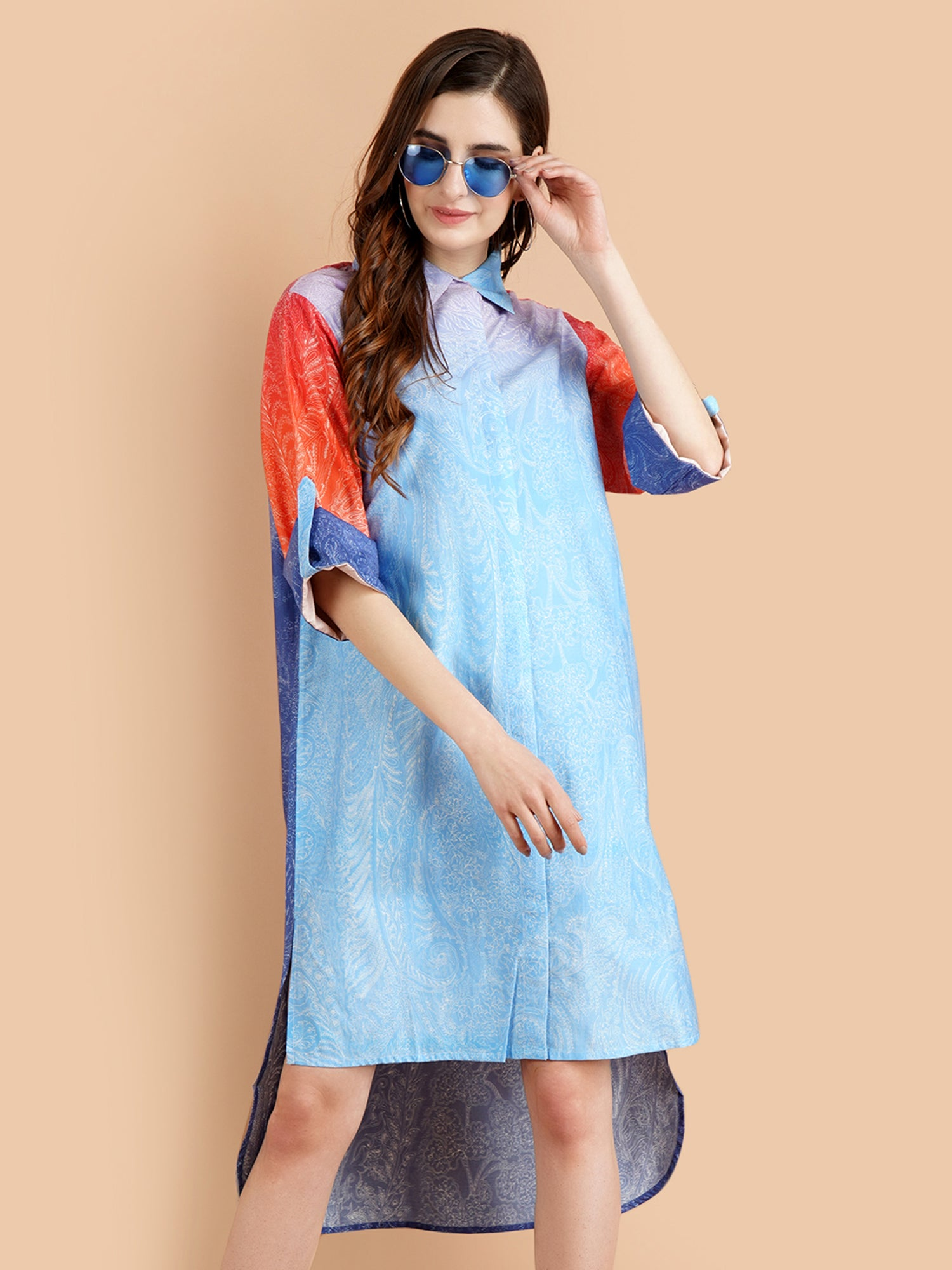 Pashma Elegant Shaded Paisley print Dress in Blue and Orange color