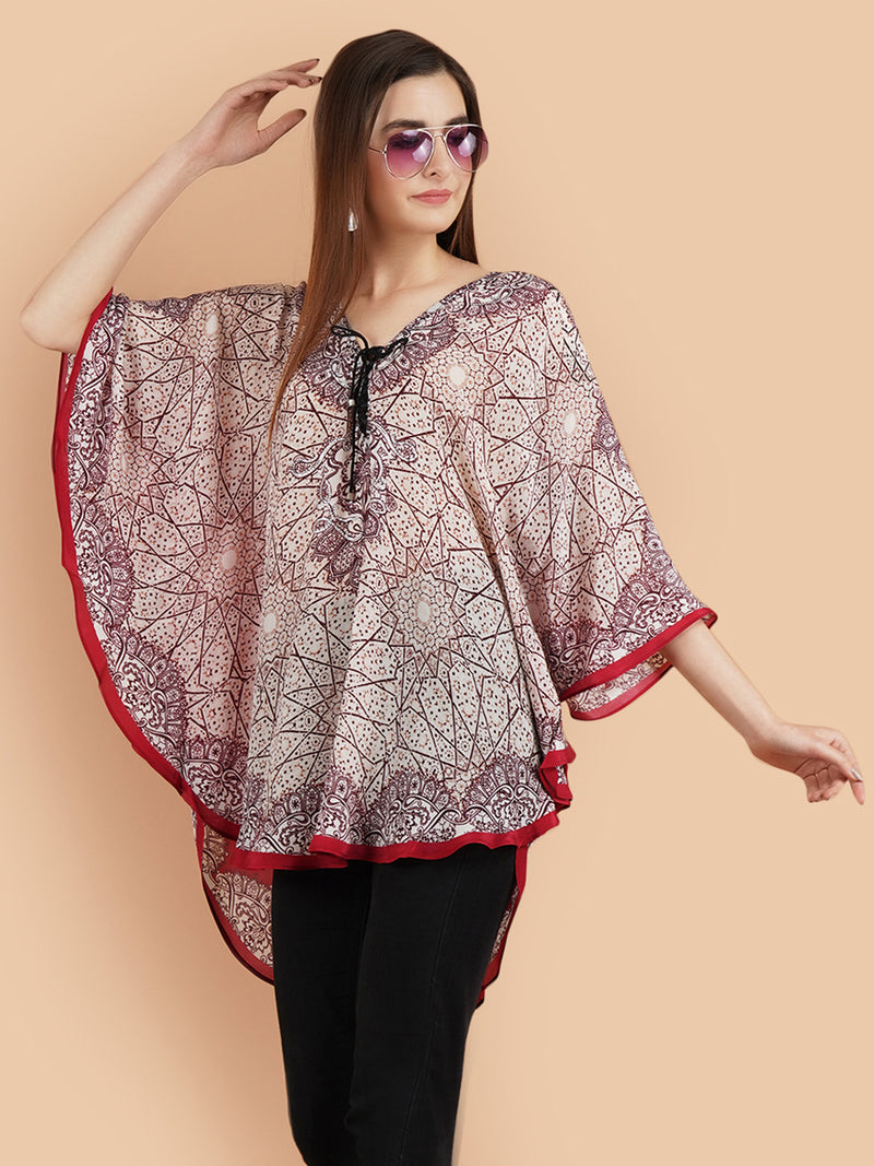 Pashma Smart Red Multi short Kaftan