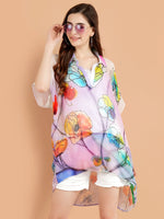Pashma Smart White- Purple Collar Neck Floral Kaftan for fresh summer fashion