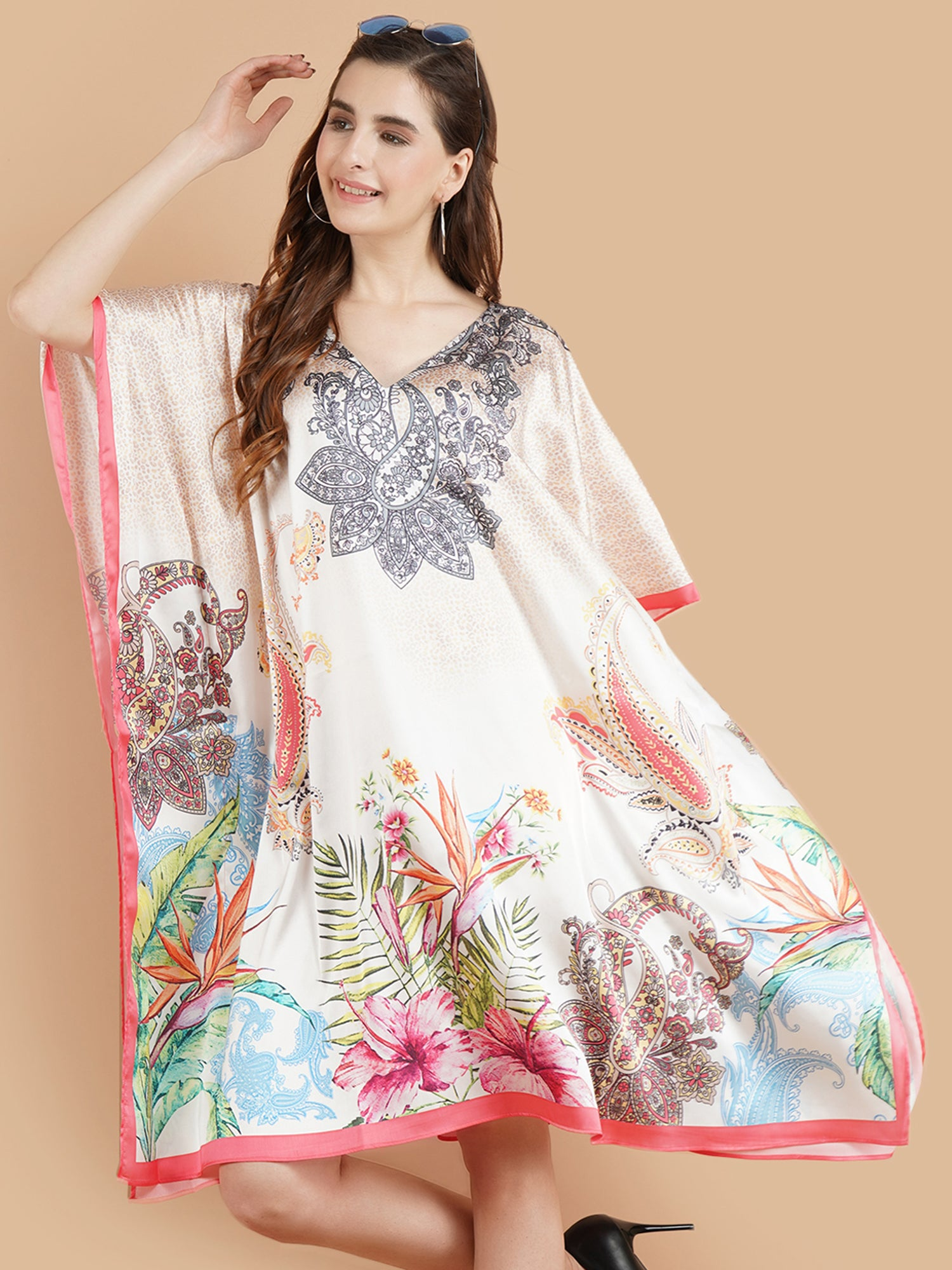 Pashma Smart White printed Color paisley Kaftan for fresh summer fashion