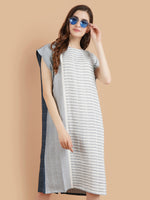 Pashma Linen Abstract Striped Dress with different Color front and back