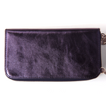 Pashma Navy Finest Metallic Italian Leather wallet with mobile holder