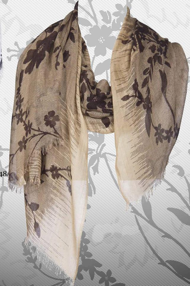 Shades of Brown Floral Scarf in Silk and Cashmere - Pashma Outlet