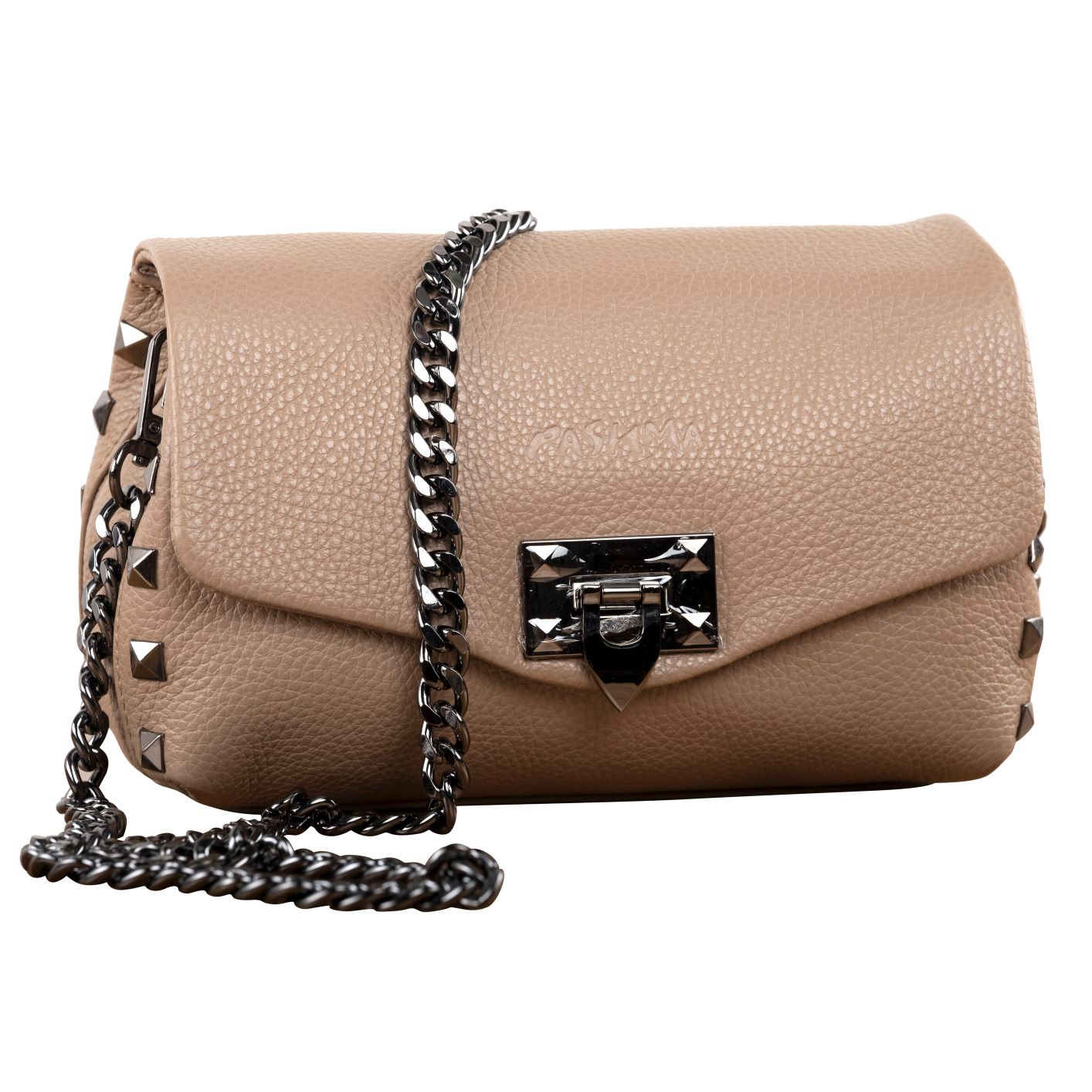 STUDDED AND HOW SLING BAG (BEIGE)